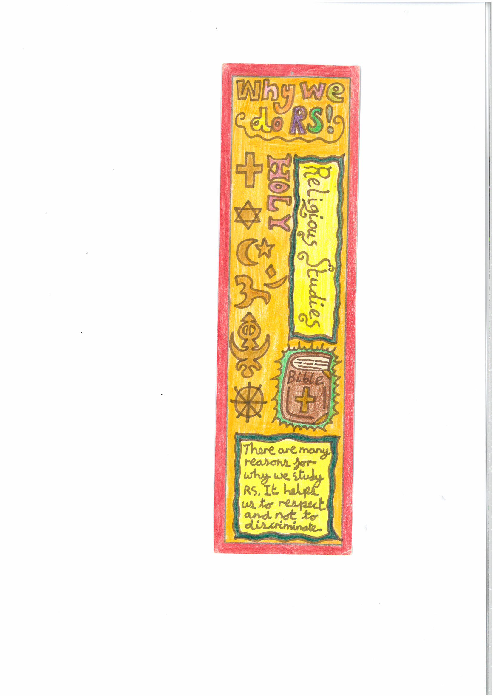 Make your own RS bookmark - World Faiths