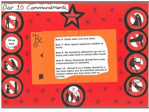 Inside of booklet with rules 6 - 10 and the symbols for the actual 10 commandments